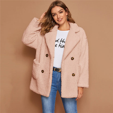 Casual Double Button Pocket Teddy Coat - Pink - WOMENEXY