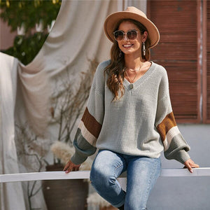 Casual V-Neck Drop Shoulder Colorblock Sweater - Gray