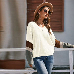 Casual V-Neck Drop Shoulder Colorblock Sweater - White