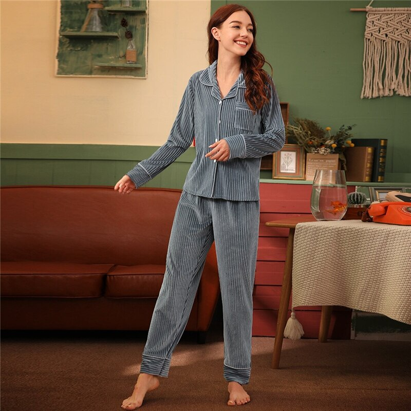 Elegant Rib Button Front Velvet Pajama Sets - Gray - WOMENEXY
