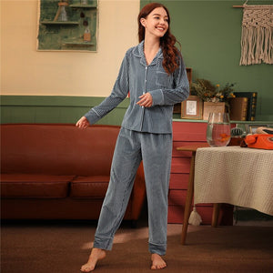 Elegant Rib Button Front Velvet Pajama Sets - Gray