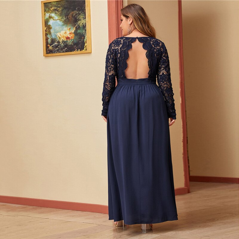 Glamorous Open Back Guipure Lace Bodice Plus Size Dress - Navy - WOMENEXY