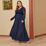 Load image into Gallery viewer, Glamorous Open Back Guipure Lace Bodice Plus Size Dress - Navy - WOMENEXY