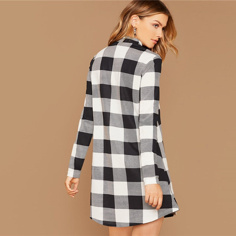 Casual Stand Collar Gingham Short Dress - Black and White - WOMENEXY