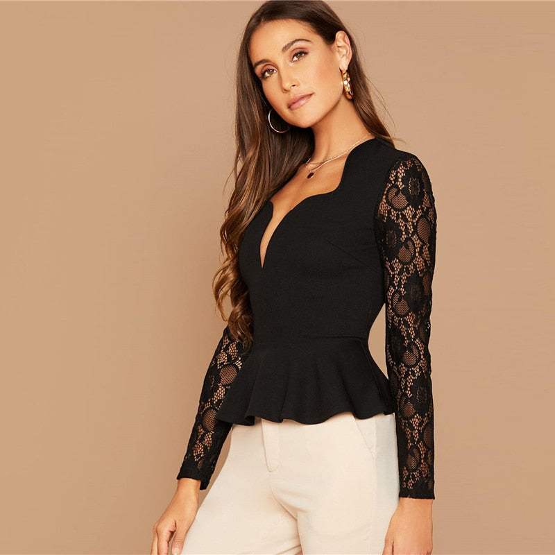 Elegant Notch Neck Sheer Lace Sleeve Peplum Top - Black - WOMENEXY