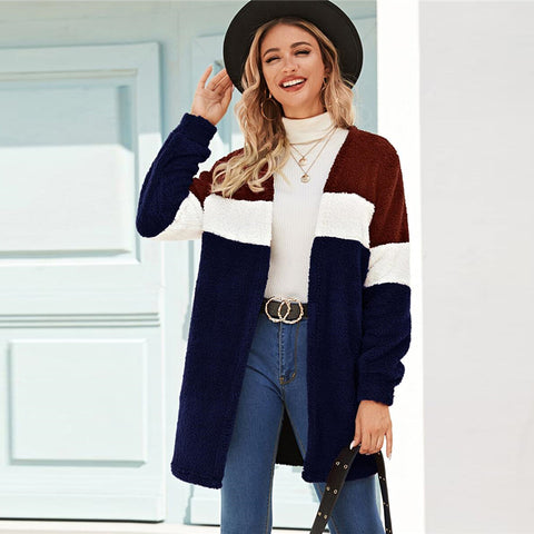 Casual Cut-And-Sew Open Front Teddy Coat - WOMENEXY