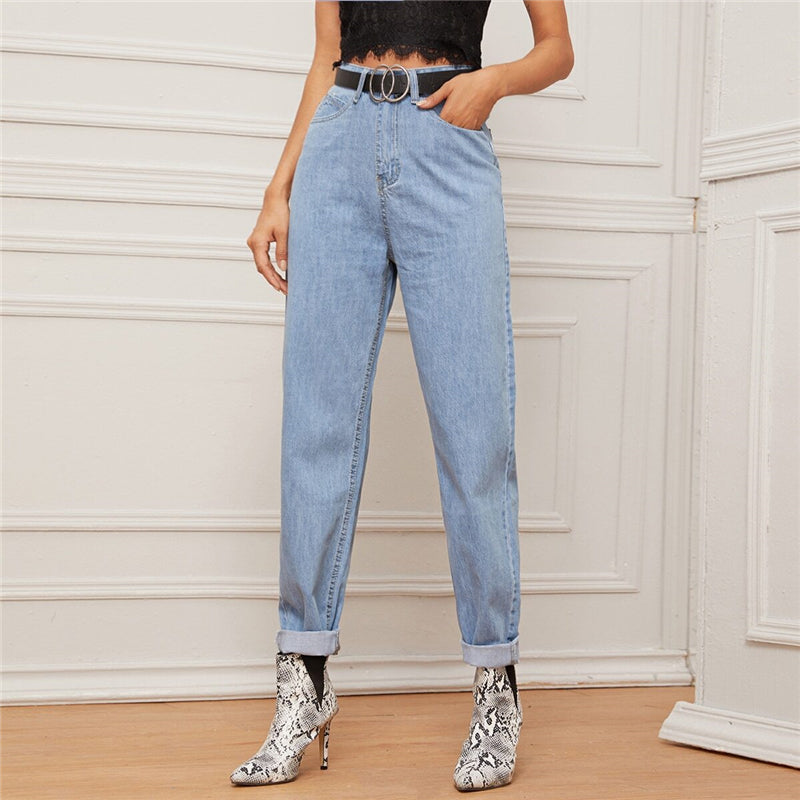 Casual Light Wash Mom Jeans Without Belt - Blue - WOMENEXY