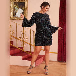 Glamorous Fitted Sequin Plus Size Dress - Black - WOMENEXY
