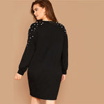 Load image into Gallery viewer, Casual Pearl Beaded Plus Size Sweatshirt Dress - Black - WOMENEXY