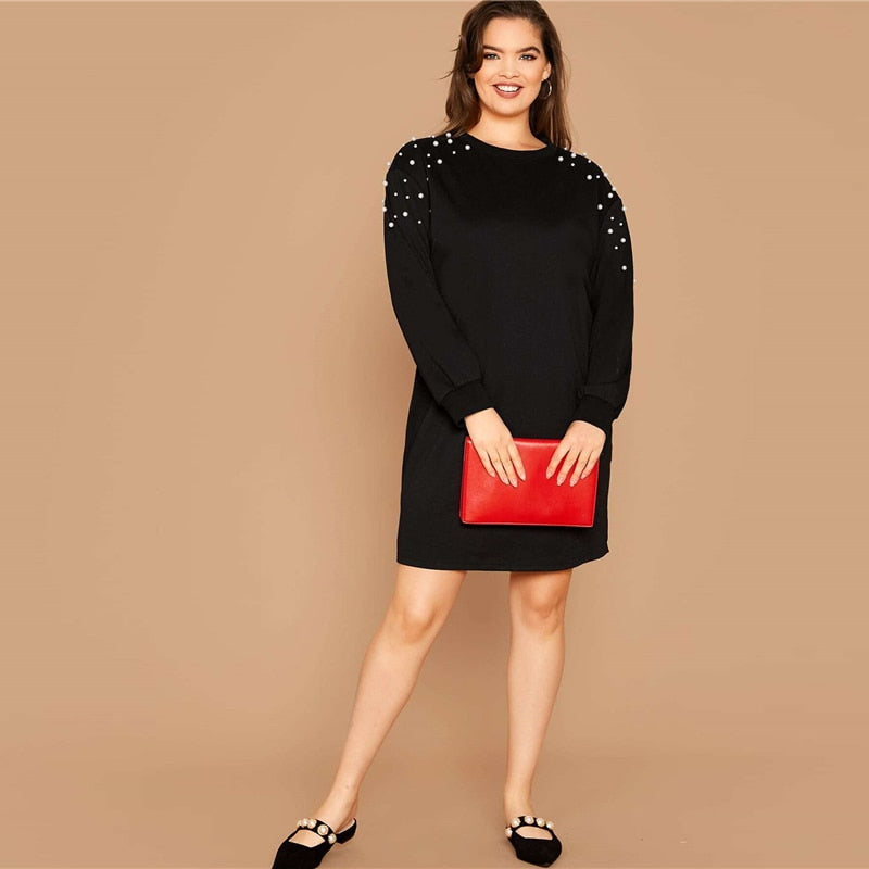 Casual Pearl Beaded Plus Size Sweatshirt Dress - Black - WOMENEXY