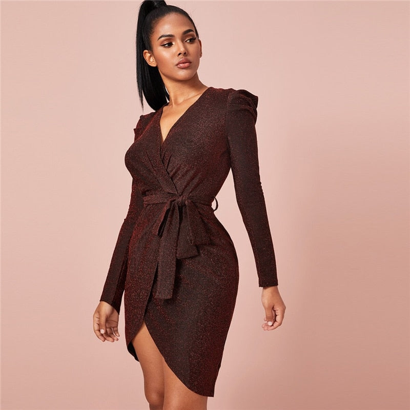 Glamorous Belted Wrap Glitter Bodycon Dress - Burgundy - WOMENEXY