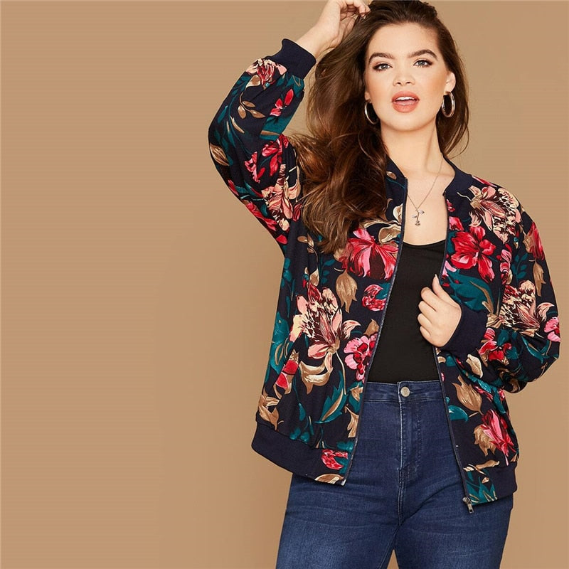 Casual Floral Print Zipper Up Plus Size Bomber Jacket