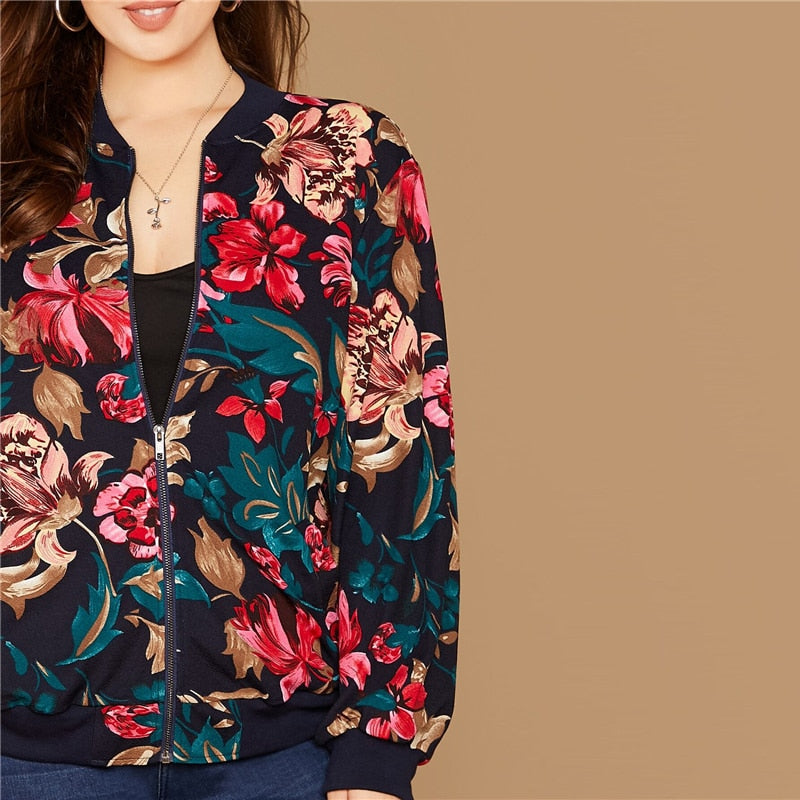 Casual Floral Print Zipper Up Plus Size Bomber Jacket - WOMENEXY