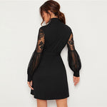 Load image into Gallery viewer, Elegant High Neck Contrast Lace Lantern Sleeve Dress with Belt - Black / Burgundy - WOMENEXY