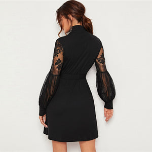 Elegant High Neck Contrast Lace Lantern Sleeve Dress with Belt - Black / Burgundy - WOMENEXY
