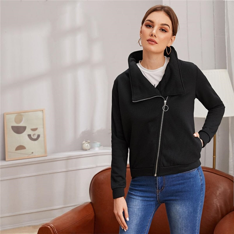 Casual O-Ring Zip Up Bike Jacket - Black - WOMENEXY