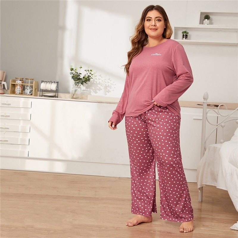 Casual Letter and Heart Print Plus Size Pajama Sets - Pink