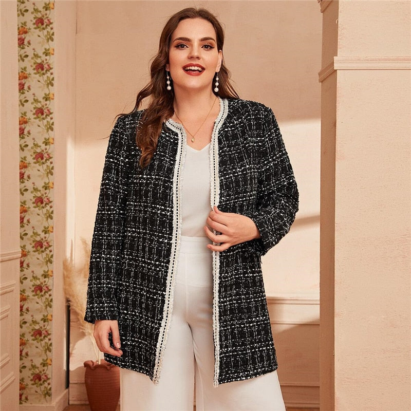 Elegant Frayed Trim Tweed Plus Size Coat - Black - WOMENEXY