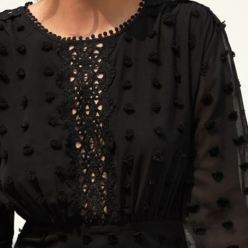 Elegant Swiss Dot Guipure Lace Hem Fitted Chiffon Dress - Black - WOMENEXY