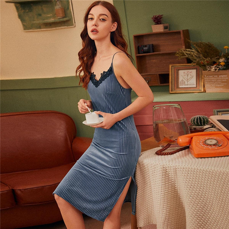 Elegant Contrast Lace Velvet Cami Night Dress - Blue - WOMENEXY