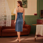 Load image into Gallery viewer, Elegant Contrast Lace Velvet Cami Night Dress - Blue - WOMENEXY