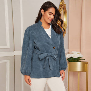 Casual Corduroy Lantern Sleeve Belted Plus Size Coat - Blue - WOMENEXY