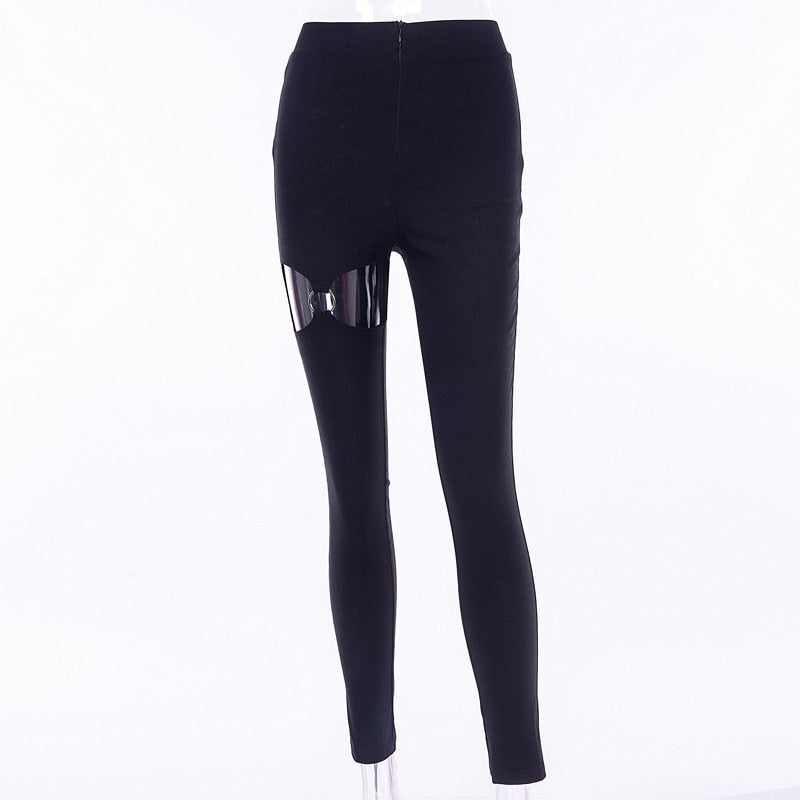 Gothic Hollow Out Zipper Skinny Pants (Black) - WOMENEXY