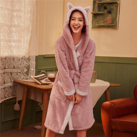 Cute Cartoon Belted Hooded Plush Robe - Pink - WOMENEXY