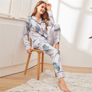 Elegant Crane and Palm Print Satin Pajama Sets - Gray - WOMENEXY
