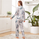Load image into Gallery viewer, Elegant Crane and Palm Print Satin Pajama Sets - Gray - WOMENEXY
