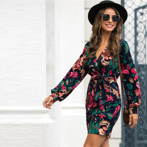 Casual V-Neck Floral Print Belted Pencil Dress - WOMENEXY