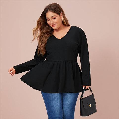 Casual V-Neck Peplum Solid Plus Size Top - Black / Navy - WOMENEXY