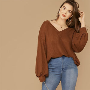 Casual Drop Shoulder Lantern Sleeve Waffle Knit Plus Size Top - Brown