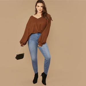 Casual Drop Shoulder Lantern Sleeve Waffle Knit Plus Size Top - Brown - WOMENEXY