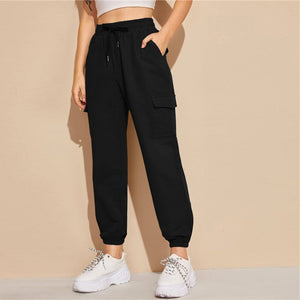 Sporty Flap Pocket Drawstring Waist Sweatpants - Black
