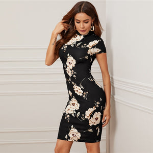 Elegant Mock-Neck Floral Print Bodycon Dress - Black / Navy / Red - WOMENEXY