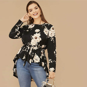 Casual Floral Print High Low Hem Belted Plus Size Top - Black