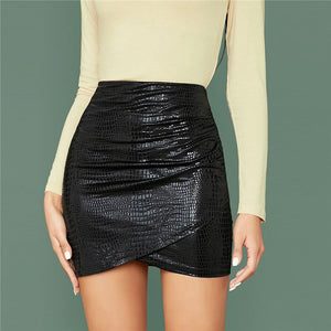 Glamorous Crocodile Embossed Ruched Wrap Bodycon Skirt - Black