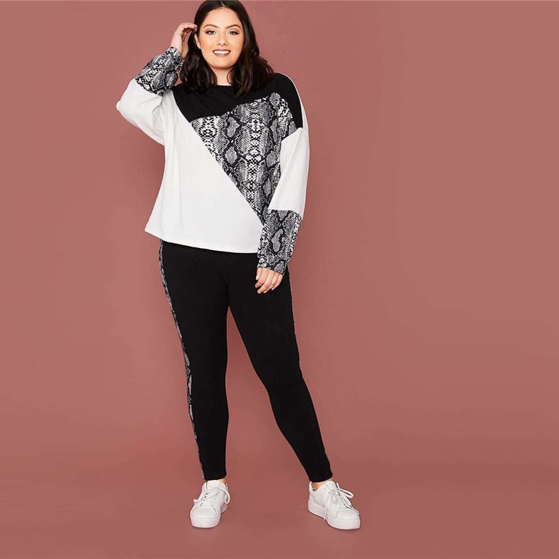 Sporty Snakeskin Color Block Pullover and Leggings Set - WOMENEXY