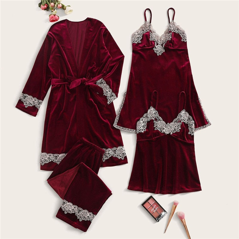 Casual Solid Contrast Lace Velvet Cami Nightdress with Pajama Set and Belted Robe - Burgundy / Pink - WOMENEXY