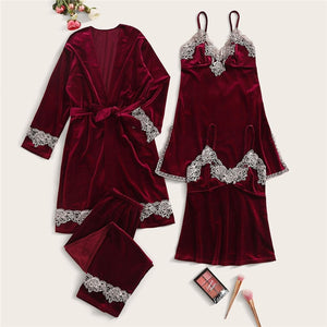 Casual Solid Contrast Lace Velvet Cami Nightdress with Pajama Set and Belted Robe - Burgundy / Pink