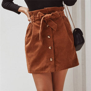 Casual Solid Button Front Corduroy Skirt with Belt - Brown / Burgundy