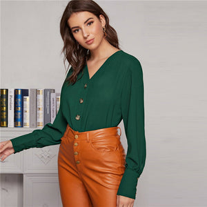 Elegant Solid Bishop Long Sleeve Button Front Blouse - Green / White - WOMENEXY