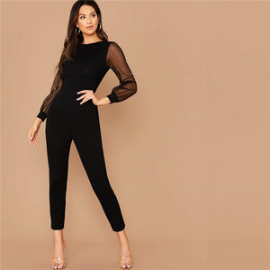 Elegant Pearls Mesh Sleeve Form Fitted Jumpsuit - Black