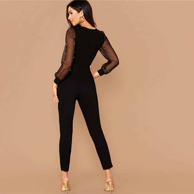 Elegant Pearls Mesh Sleeve Form Fitted Jumpsuit - Black - WOMENEXY