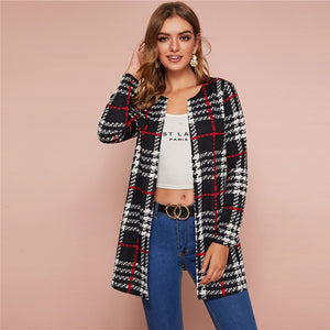 Casual Plaid Print Open Front Coat - Black and White