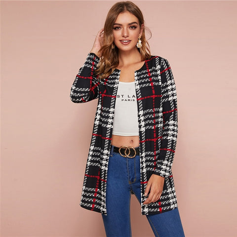 Casual Plaid Print Open Front Coat - Black and White - WOMENEXY
