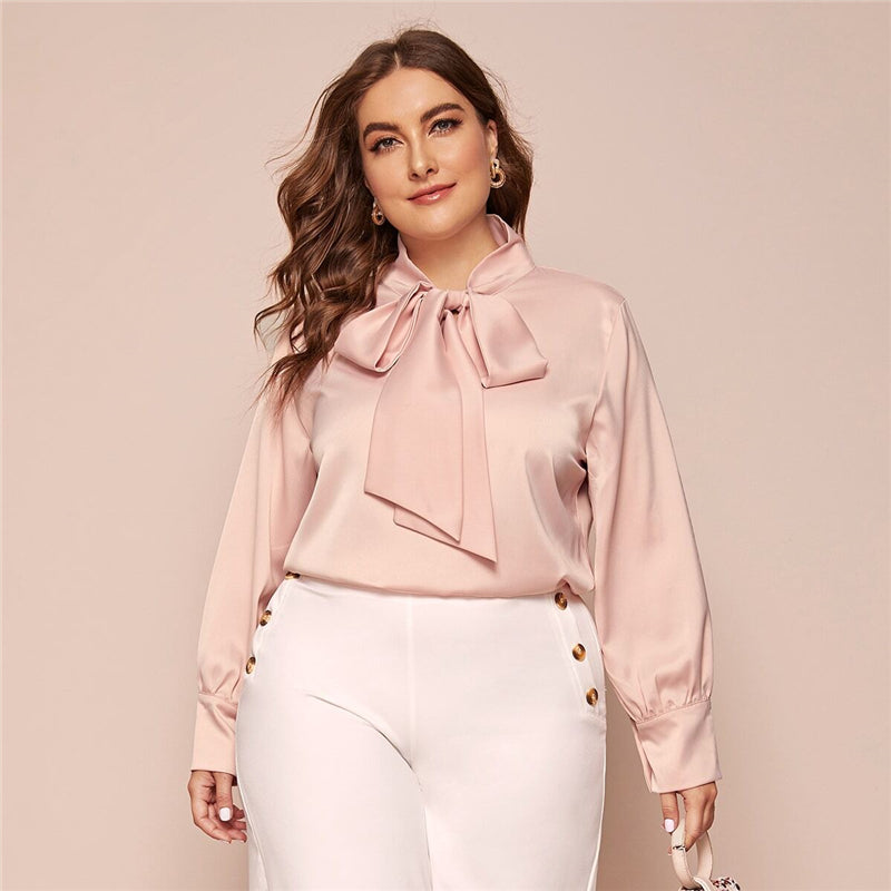 Elegant Bow Tie Neck Solid Plus Size Blouse - Pink / Yellow