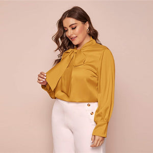 Elegant Bow Tie Neck Solid Plus Size Blouse - Pink / Yellow - WOMENEXY