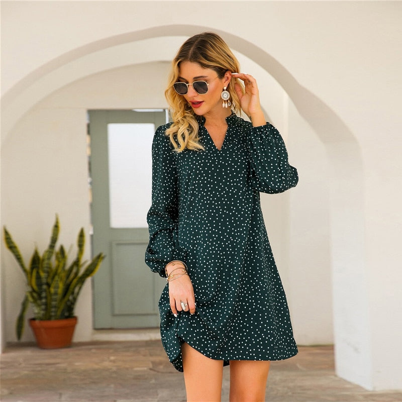 Casual Notched Polka Dot A-Line Short Dress - Black / Green - WOMENEXY